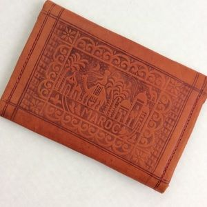 Vintage Rare Tan Tooled Leather Maroc Camel Wallet